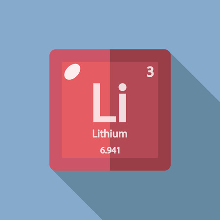 lithium: Chemical element Lithium. Flat design style modern vector illustration. Isolated on background. Elements in flat design.