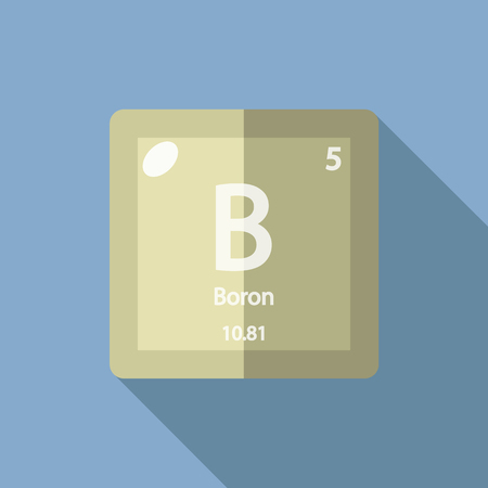 boron: Chemical element Boron. Flat design style modern vector illustration. Isolated on background. Elements in flat design.