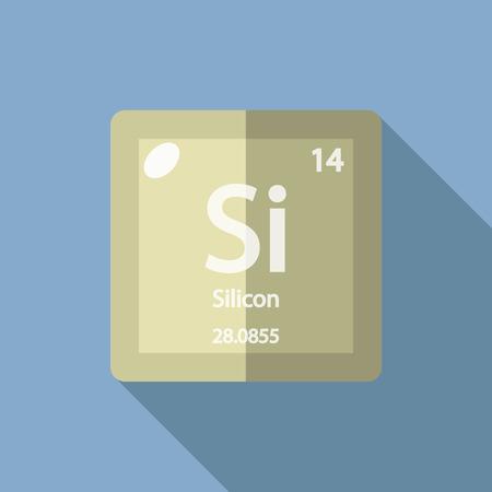 silicio: Qu�mica el elemento de silicio. dise�o de estilo plano ilustraci�n vectorial moderna. Aislado en el fondo. Los elementos de dise�o plano. Vectores