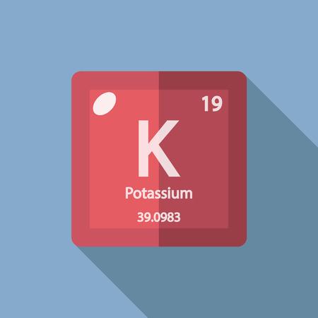 potassium: Chemical element Potassium. Flat design style modern vector illustration. Isolated on background. Elements in flat design. Illustration