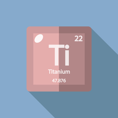 Chemical element Titanium. Flat design style modern vector illustration. Isolated on background. Elements in flat design.