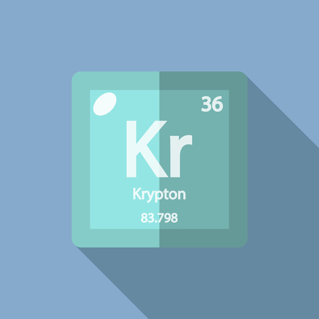 krypton: Chemical element Krypton. Flat design style modern vector illustration. Isolated on background. Elements in flat design.