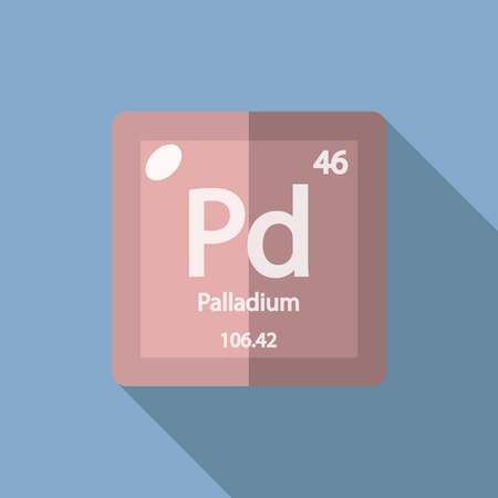 palladium: Chemical element Palladium. Flat design style modern vector illustration. Isolated on background. Elements in flat design.