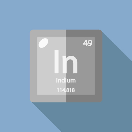 iupac: Chemical element Indium. Flat design style modern vector illustration. Isolated on background. Elements in flat design.