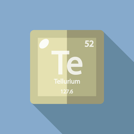iupac: Chemical element Tellurium. Flat design style modern vector illustration. Isolated on background. Elements in flat design.