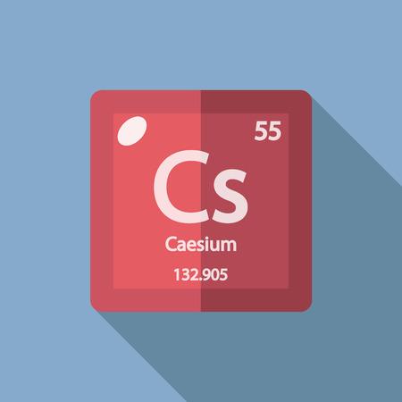 caesium: Chemical element Caesium. Flat design style modern vector illustration. Isolated on background. Elements in flat design. Illustration