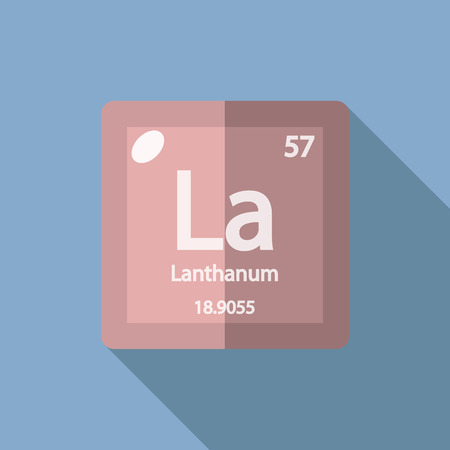 lanthanide: Chemical element Lanthanum. Flat design style modern vector illustration. Isolated on background. Elements in flat design.