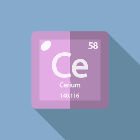 lanthanide: Chemical element Cerium. Flat design style modern vector illustration. Isolated on background. Elements in flat design.