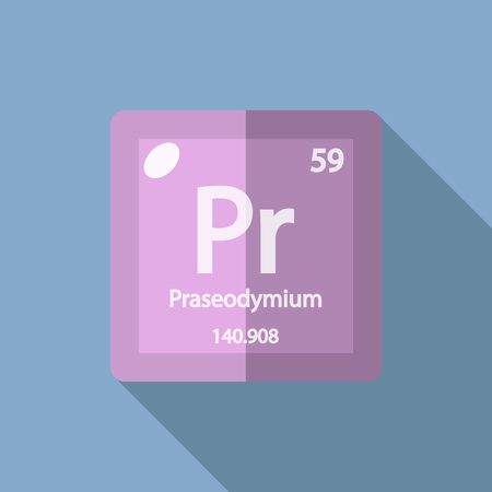 lanthanide: Chemical element Praseodymium. Flat design style modern vector illustration. Isolated on background. Elements in flat