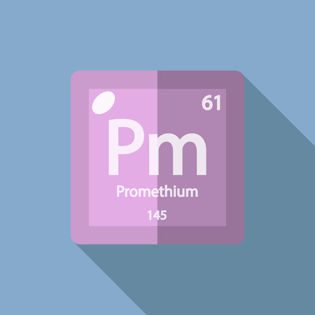 lanthanide: Chemical element Promethium. Flat design style modern vector illustration. Isolated on background. Elements in flat design.