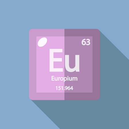 lanthanide: Chemical element Europium. Flat design style modern vector illustration. Isolated on background. Elements in flat design. Illustration