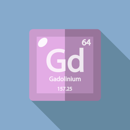 lanthanide: Chemical element Gadolinium. Flat design style modern vector illustration. Isolated on background. Elements in flat