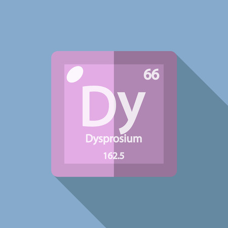 lanthanide: Chemical element Dysprosium. Flat design style modern vector illustration. Isolated on background. Elements in flat