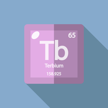 lanthanide: Chemical element Terbium. Flat design style modern vector illustration. Isolated on background. Elements in flat design. Illustration