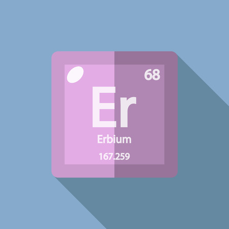lanthanide: Chemical element Erbium. Flat design style modern vector illustration. Isolated on background. Elements in flat design.