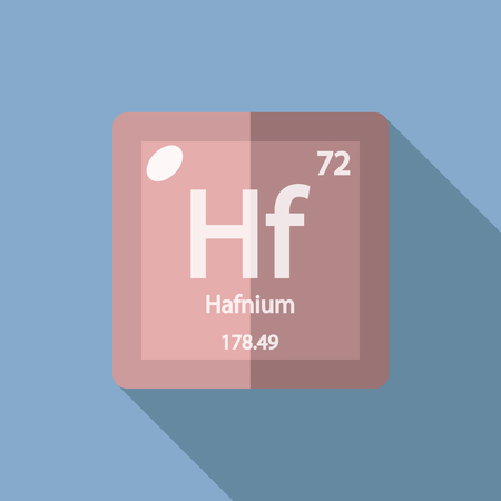 serial: Chemical element Hafnium. Flat design style modern vector illustration. Isolated on background. Elements in flat design.