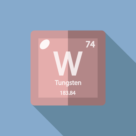 iupac: Chemical element Tungsten. Flat design style modern vector illustration. Isolated on background. Elements in flat design.