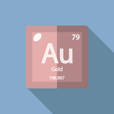 Chemical element Gold. Flat design style modern vector illustration. Isolated on background. Elements in flat design. Illustration