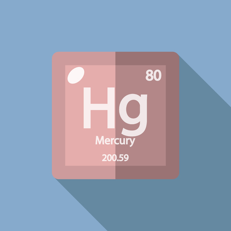serial: Chemical element Mercury. Flat design style modern vector illustration. Isolated on background. Elements in flat design. Illustration