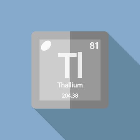 Chemical element Thallium. Flat design style modern vector illustration. Isolated on background. Elements in flat design. Illustration