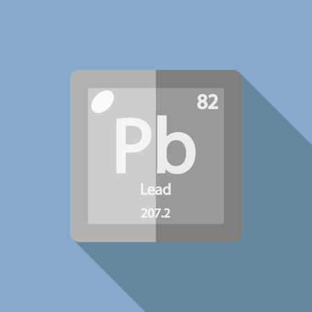 plumbum: Chemical element Lead. Flat design style modern vector illustration. Isolated on background. Elements in flat design.