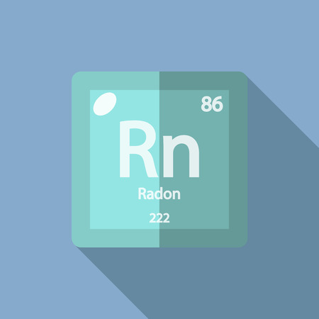 radon: Chemical element Radon. Flat design style modern vector illustration. Isolated on background. Elements in flat design.