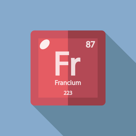 alkali metal: Chemical element Francium. Flat design style modern vector illustration. Isolated on background. Elements in flat design.
