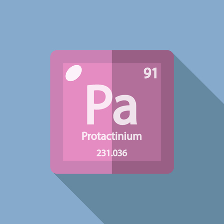 Chemical element Protactinium. Flat design style modern vector illustration. Isolated on background. Elements in flat Illustration