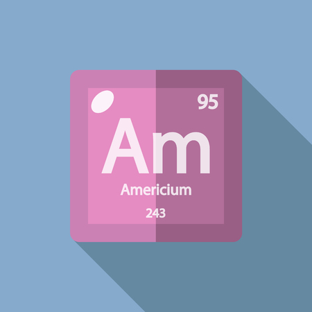 iupac: Chemical element Americium. Flat design style modern vector illustration. Isolated on background. Elements in flat design.