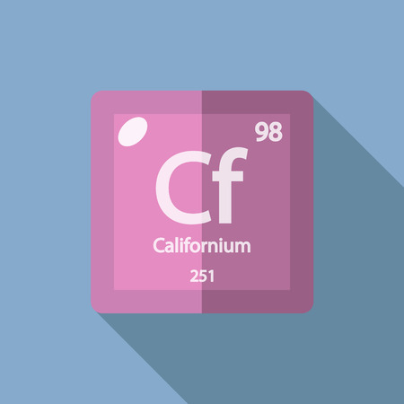 cf: Chemical element Californium. Flat design style modern vector illustration. Isolated on background. Elements in flat Illustration