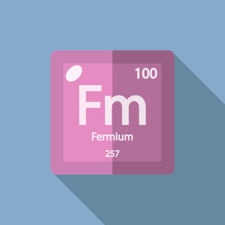 iupac: Chemical element Fermium. Flat design style modern vector illustration. Isolated on background. Elements in flat design.