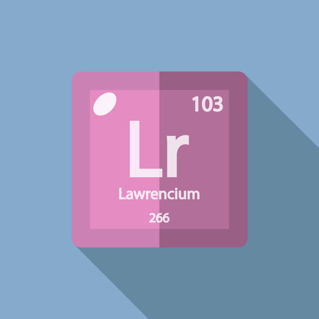 iupac: Chemical element Lawrencium. Flat design style modern vector illustration. Isolated on background. Elements in flat Illustration
