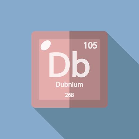 iupac: Chemical element Dubnium. Flat design style modern vector illustration. Isolated on background. Elements in flat design. Illustration