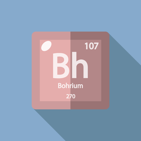 serial: Chemical element Bohrium. Flat design style modern vector illustration. Isolated on background. Elements in flat design.