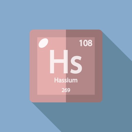 iupac: Chemical element Hassium. Flat design style modern vector illustration. Isolated on background. Elements in flat design. Illustration