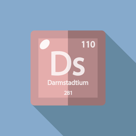 iupac: Chemical element Darmstadtium. Flat design style modern vector illustration. Isolated on background. Elements in flat Illustration