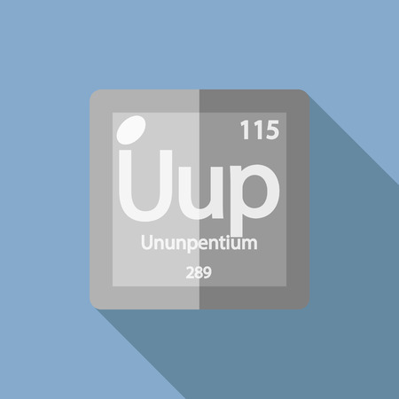 iupac: Chemical element Ununpentium. Flat design style modern vector illustration. Isolated on background. Elements in flat design.