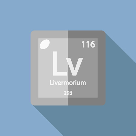 Chemical element Livermorium. Flat design style modern vector illustration. Isolated on background. Elements in flat