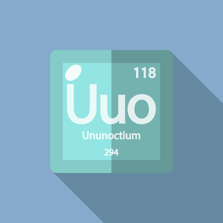 iupac: hemical element Ununoctium. Flat design style modern vector illustration. Isolated on background. Elements in flat
