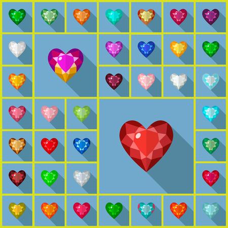 zircon: Vector gems icons set. Flat vector design with long shadow. Vector gems flat design.