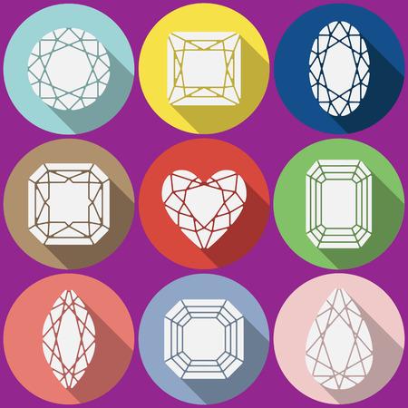 asscher: Vector gems icons set. Flat vector design with long shadow. Vector gems flat design.
