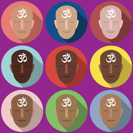 nirvana: Vector set of portraits omm. Vector flat design. Isolated icons on colorful backdrop.