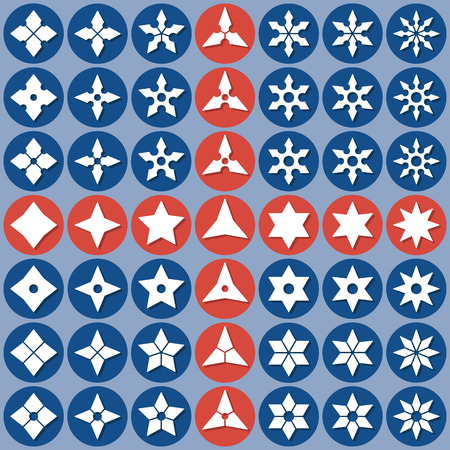 shuriken: Set of abstract icons shuriken. Vector flat design. Isolated icons on colorful backdrop. Illustration