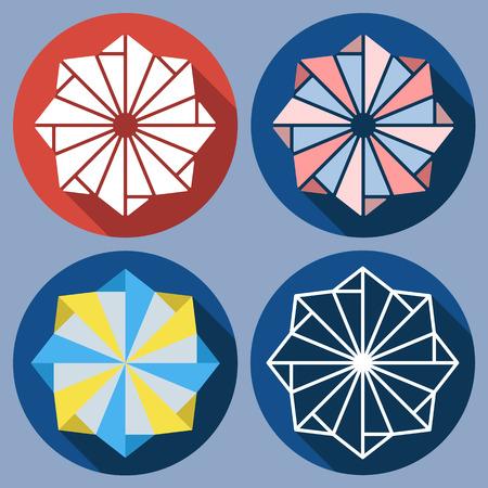 octogonal: Conjunto de shuriken octogonal abstracto. Vector de diseño plano. iconos aislados en colorido telón de fondo. juguete molino de viento. Vectores
