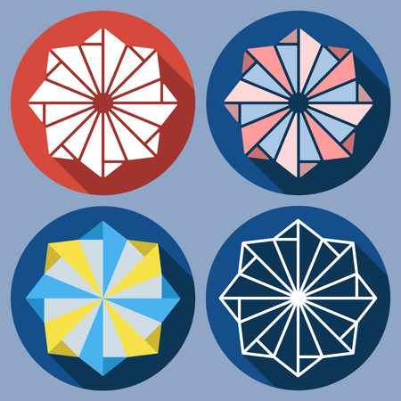 shuriken: Set of abstract octagonal shuriken. Vector flat design. Isolated icons on colorful backdrop. Windmill toy.