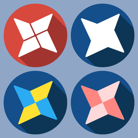 shuriken: Set of abstract quadrangular shuriken. Vector flat design. Isolated icons on colorful backdrop.