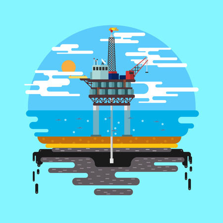 oil and gas industry: Vector flat illustration. Drilling rig at sea. Oil platform, gas fuel, industry offshore, drill technology.