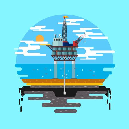 exploration: Vector flat illustration. Drilling rig at sea. Oil platform, gas fuel, industry offshore, drill technology.