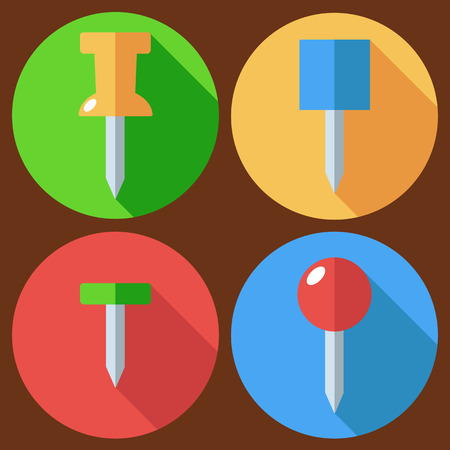 drawing pin: Set of drawing pin icon. Vector flat design. Isolated icons on stylish color background. Flat long shadow icon.