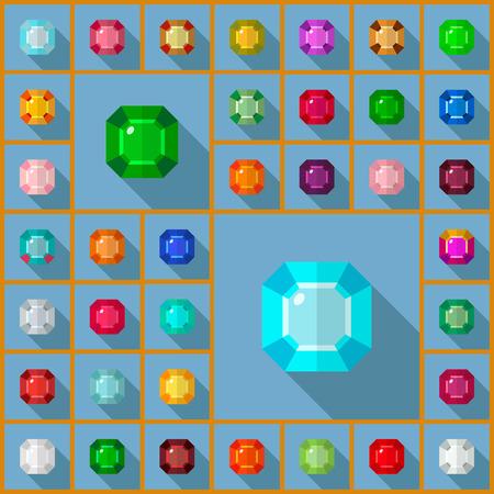 Vector gems icons set. Flat vector design with long shadow. Vector gems flat design.